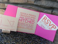 Getting Hitched Wedding Invitations - Modern Western & Bold. $4.00, via Etsy.