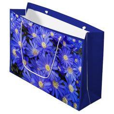 Blue Anemones Floral Large Gift Bag #flowers #giftwrap #giftpresentation