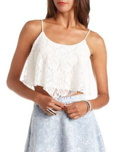 textured lace swing crop top