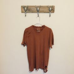 Distressed Tee in Camel New reworked tee Oversized fit Fits like an oversized medium Feel free to ask me any questions Thanks for browsing my closet! Happy Poshing Tops Tees - Short Sleeve