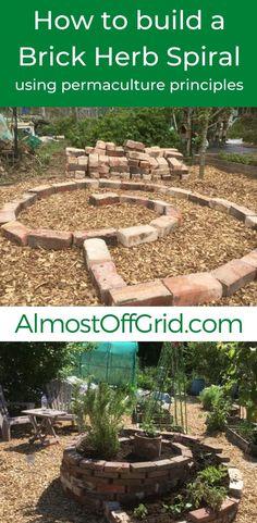 Herb Spiral, Spiral Garden, Brick Garden, Vegetable Garden, Permaculture Principles, Permaculture Design, Permaculture Garden, Farm Gardens, Outdoor Gardens