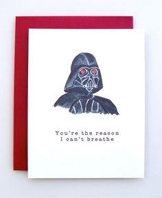 Valentine's Day Card Darth Vader - funny valentine - star wars valentine - handmade - valentine card - paper - valentine humor by AvEHdesigns on Etsy https://www.etsy.com/ca/listing/264676424/valentines-day-card-darth-vader-funny