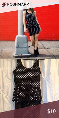 F21 Polka Dot Dress From Forever 21. Fitted. Tight. Stretchy. Black with white polka dots. Forever 21 Dresses Mini