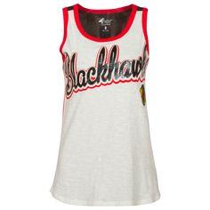 fbbabb9b085c Chicago Blackhawks Women s Cream and Red Script Tank Top