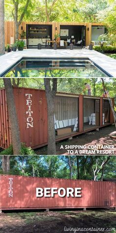 Tiny Container House, Cargo Container Homes, Building A Container Home, Storage Container Homes, Tiny House Cabin, Tiny House Design, Tiny Backyard House, Backyard Office, Backyard Ideas