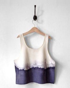 Crop Top. Gray. White. Horizon. Raw Silk. Handmade. Modern. Tie Dye Design. Dip-Dye Grey. Ombre. Natural dye. Tank Top. Neutral. Gray Ombre.