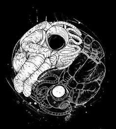 Yin e yang Astronaut Tattoo, Astronaut Drawing, Ying Yang, Yin And Yang, Yin Yang Art, Space Illustration, Astronauts In Space, Art Graphique, Silkscreen
