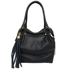 Designer Italian Soft Leather Hobo Handbag in black