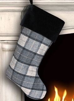 Wool Christmas Stocking Wool Stocking Gray by MeredithRosePetal