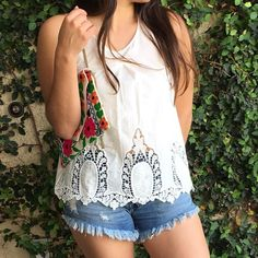 White embroidered Tank Light and airy. Dainty design and perfect for spring/summer. Please let me know what size you will need and Do NOT purchase this listing.  I will create a separate listing for you. Please NO TRADES OR PAYPAL Price is firm Tops Tank Tops