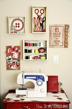 Sewing Room. I like the box with the button art. And it would be cute to use your thread as art too. I don't sew but this is awesome!