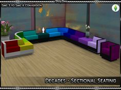 """"""" As requested by @cherryicecreamsims I have converted the items from Sims 3 70′s 80′s 90′s Stuff for Sims 4. Next up, we have the Sectional Seating Set. Included are 6 living chairs and 1 coffee..."""