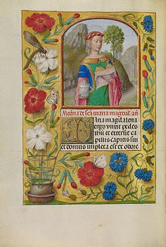 A Flemish illumination from the Workshop of the Master of ht eFirst Prayer Book of Maximilian, c.1510-20, showing Mary Magdalene with a book and her attribute of ointment jar; (MS LUDWIG IX 18, Fol. 264V). (J Paul Getty Museum)
