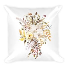 Items similar to Pretty Fall Flower Bouquet in Watercolor Couch Decor Stuffed Washable Removable Cover With Hidden Zipper. on Etsy Fall Flowers, Decorative Pillows, Bouquet, Tapestry, Watercolor, Create, Unique Jewelry, Handmade Gifts, Prints
