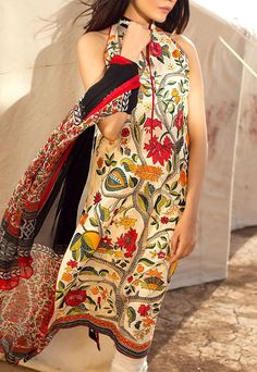 Buy Cream Embroidered Cotton Lawn Dress by Sana Safinaz 2016