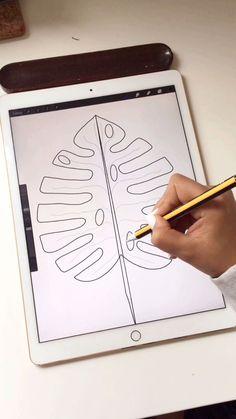 Easy way to draw digital monstera leaf - nimivo sites Digital Painting Tutorials, Digital Art Tutorial, Art Tutorials, Digital Art Beginner, Leaf Drawing, Ipad Art, Digital Portrait, Oeuvre D'art, Drawings