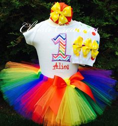 Rainbow First Birthday Outfit  This adorable baby girl tutu outfit will have her looking pretty as a picture! Just watch her face light up when