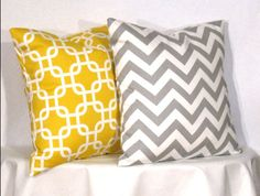 Decorative Pillows 1 Grey and White Chevron Zig Zag and 1 Yellow and White Gotcha Accent Pillow - 24 x 24 inch square - TWO PILLOW COVERS