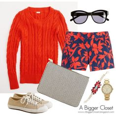 OOTD - Red and Navy by abiggercloset on Polyvore featuring J.Crew and Kate Spade