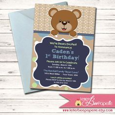 Teddy Bear Themed Boy's Birthday Invitation - Choose Your Colors - DIY Printable Invite - Baby Shower - 1st, 2nd, 3rd Birthday Party