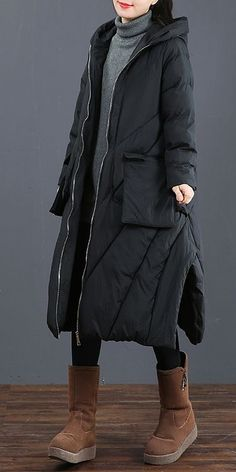 Fashion Loose Black And Coffee Long Coat Casual Outfits 6012 Summer Outfits, Casual Outfits, Hooded Winter Coat, Coats For Women, Clothes For Women, Trench Coat Style, Cool Style, Fashion Dresses, Winter Jackets