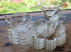4 sets of flower shaped clear glass snack sets by TheLadenBranch, $30.00