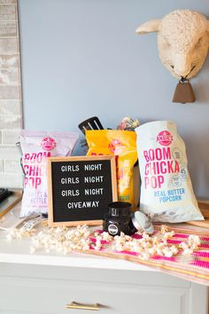 Girl's Night | Popcorn | Boom Chicka Pop | Volcano | Giveaway See more on Instagram: @jesshogancrum #girlsnight #popcorn #boomchickapop #volcanocandle #giveaway