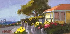 """Sunlight on Main Street"" ~ 5""x10""original fine art ""Dear friends of ours live in this fabulous yellow house on Main Street in Mendocino."" -- Erin Dertner. This piece is unframed and available for sale for $125"