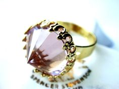 Rare #Vintage Alexandrite Swarovski #Crystal Cocktail #Ring Victorian Gothic Limited Edition Gold Plated #fashion #apparel #jewelry $30.00