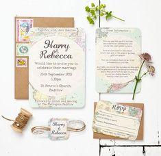 Travel Inspired Map Wedding Invitation Set