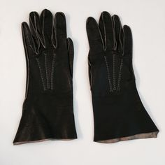 Black Leather American Glacé by Wear Right Gloves Beautiful vintage black leather American Glacé by Wear Right gloves size 7 1/4.  They are incredibly soft and fit like a second skin.  They have beautiful detail and construction with a tan seam decoration to the glove.  These are perfect for any vintage fan or glove wearer.  They won't let you down.      💸Always open to reasonable offers - PLEASE MAKE THEM WITH THE OFFER BUTTON 😊  ❔ Always happy to answer any and all questions   🚫 Sorry…