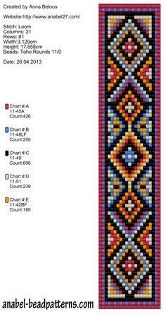 The scheme bracelet Bright ethno - weaving / Tapestry weaving