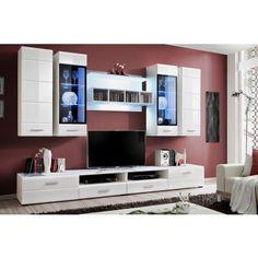 Unité TV mural design blanc et noir High gloss