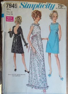 Vintage Simplicity 7949 Pattern Size 12 Junior Misses Evening DRESS Gown UNCUT