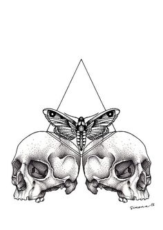 HIpster tattoo illustration. Triangle, moth, skulls.