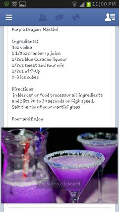 Purple Dragon Martini..cocktail party , my house, Friday 6:30..