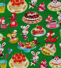 Kawaii fabric, Cosmo textiles (Japan) Motif Vintage, Look Vintage, Retro Vintage, Pattern Illustration, Book Illustration, Kawaii Background, Vintage Wrapping Paper, Food Patterns, Retro Fabric