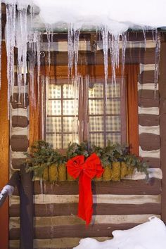 Winter Window Featured Images - View Of A Rustic Cabin Window Adorned by Michael DeYoung Cabin Christmas, Noel Christmas, Country Christmas, Winter Christmas, Christmas Themes, Christmas Decorations, Holiday Decor, Primitive Decorations, Christmas Windows