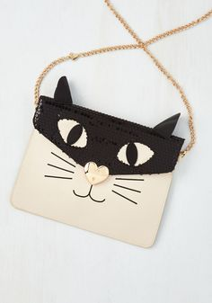 She's All Cat Bag. Its true - you know how to make your kitten craze a chic characteristic, and this Betsey Johnson bag is proof! #black #modcloth