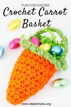 Crochet Carrot Basket Pattern Darling little crochet carrot basket filled with chocolate eggs will be the hit at your Easter celebrations. How about using these cute baskets as a favor on each plate for Easter Dinner. Crochet Easter, Bunny Crochet, Easter Crochet Patterns, Holiday Crochet, Crochet Patterns Amigurumi, Crochet Crafts, Crochet Hooks, Crochet Projects, Free Crochet