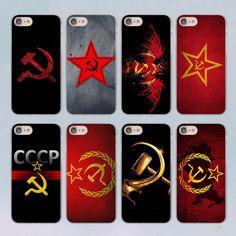 Red Soviet Union USSR Grunge Flag design transparent clear hard case cover for Apple iPhone 7 7Plus 6S 6 Plus 5 5s SE 5C #Affiliate