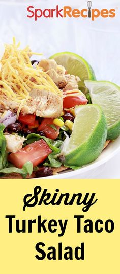 Quick and healthy taco salad made with turkey instead of beef. So versatile--adapt with different meats and veggies to suit your tastes. Definitely a keeper! | via @SparkPeople #food #recipe #Mexican #dinner