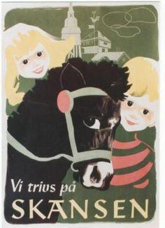 Original Vintage Poster Skansen Zoo Animals Kids 1947 | eBay