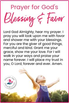 A daily prayer for blessing and favor from God. Pray for God's blessings and favor on your life, to shower his mercy and grace upon you. Daily Devotional Prayer, Bible Prayers, Prayers For Healing, Prayer Scriptures, Daily Prayer, Catholic Prayers Daily, Bible Verses, Prayer For Mercy, Prayer Of Praise
