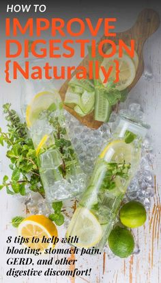 Give these 8 tips to improve digestion naturally a try if you're looking to beat bloating, stomach pain, reflux, and other troublesome digestive symptoms. Let me know which ones work best for you! #digestivehealth #ibs #gerd #reflux Nutrition Articles, Nutrition Information, Holistic Nutrition, Diet And Nutrition, Gut Health, Health Tips, Annorexia Tips, Help With Bloating, Microbiome Diet