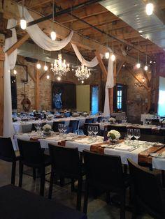Our wedding venue.. Archeo- Distillery District, Toronto... Decor by Fifth Elements Design!!
