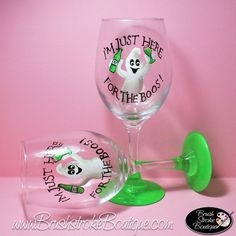 Hand Painted Wine Glasses - Here For The Boos - Personalized and Custom Wine Glasses for Birthday, Gifts, Special Occasions