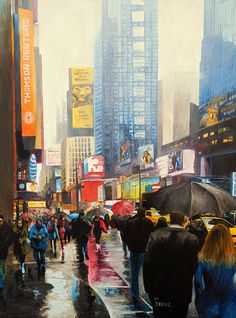 18x24+inches. Original+oil+painting+on+stretched+canvas.+This+painting+depicts+a+normal+busy+day+with+a+drizzling+weather+in+Manhattan+NY.