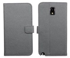 myLife Light Gray {Classy Design} Faux Leather (Card, Cash and ID Holder + Magnetic Closing) Slim Wallet for Galaxy Note 3 Smartphone by Sam...