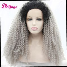 41.49$  Buy here - http://alizco.worldwells.pw/go.php?t=32676774513 - Hot Afro Kinky Curly Ombre Grey Front Lace Wig Synthetic Wig For Black Women Perucas Front Lace Pruiken Synthetische Lace Wigs